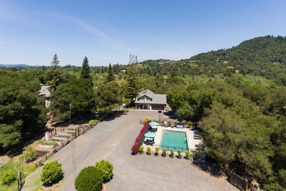 Healdsburg Riverstone Aerial of Solar Heated Pool